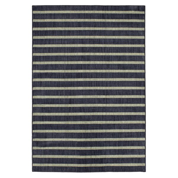 Paulette Stripe Blue Area Rug by Harriet Bee