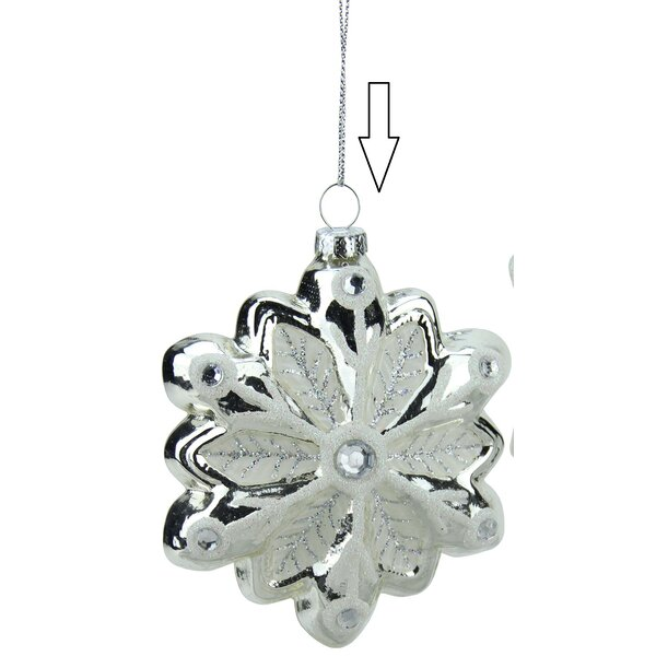 Snowflake with Faux Gems Glass Christmas Ornament by Northlight Seasonal