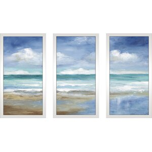 'Washy Coast II' Framed Painting Print Multi-Piece Image on Glass by Highland Dunes