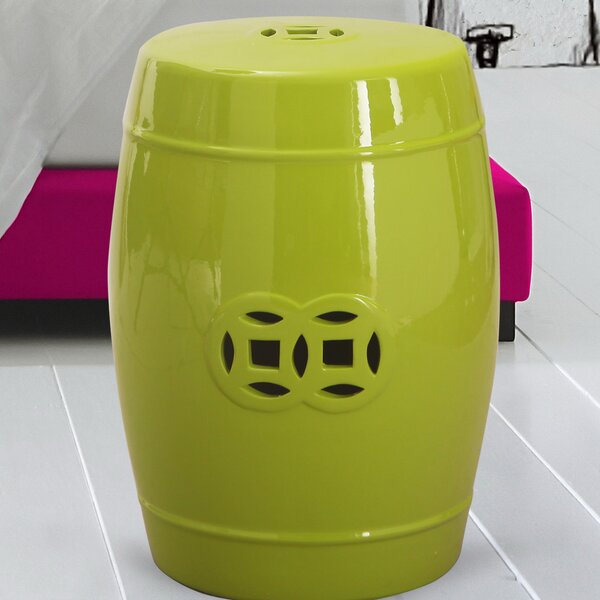 Modern Drum Ceramic Garden Stool by Adeco Trading