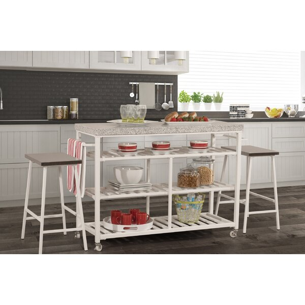 Droitwich Kitchen Island Set with Granite Top by August Grove