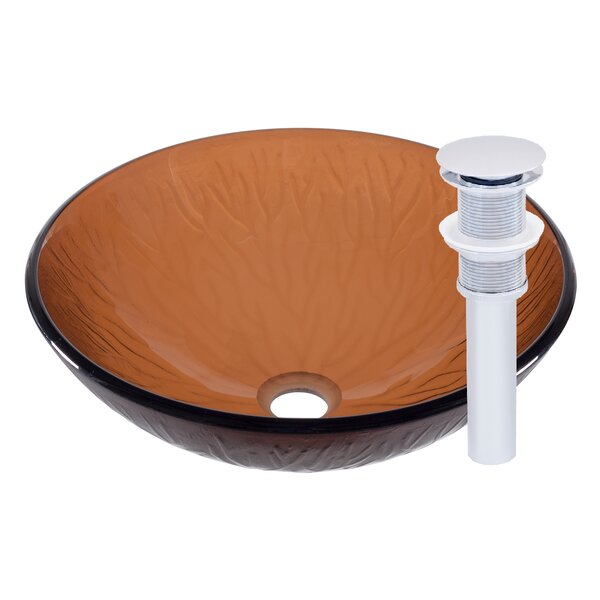 Gambo Glass Circular Vessel Bathroom Sink by Novatto