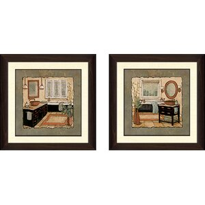 'Ebony Bath' 2 Piece Framed Acrylic Painting Print Set by Alcott Hill