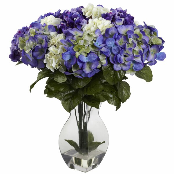 Mixed Hydrangea with Vase by Nearly Natural