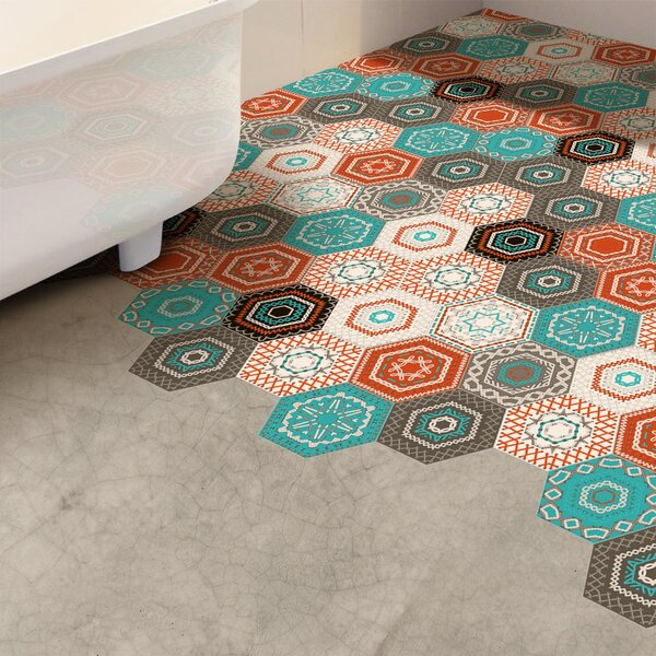 Stitches and Patches Hexagon Floor Decal by World Menagerie