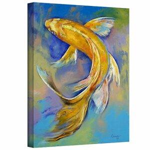 ArtApeelz Orenji Butterfly Koi Painting Print on Canvas by ArtWall