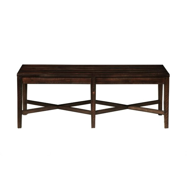 Jayda Block Legs and Cross Base Acacia Wood Bench by Millwood Pines
