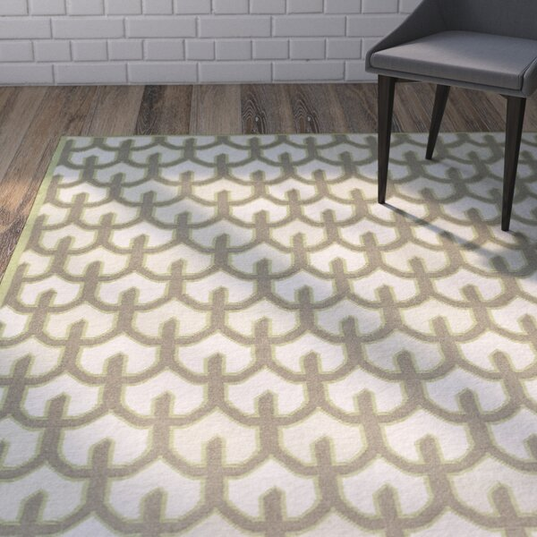 Criss Beige/Olive Geometric Area Rug by Wrought Studio
