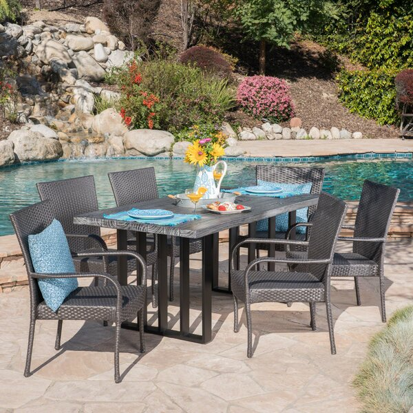 Yowell Outdoor 7 Piece Dining Set by Rosecliff Heights