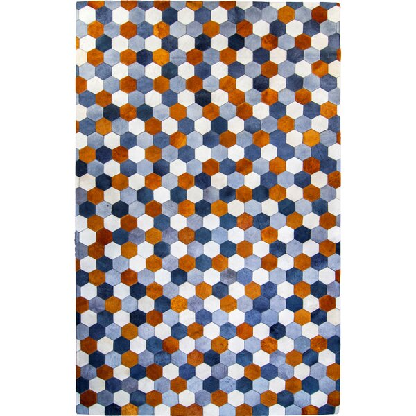 One-of-a-Kind Hosford Hand-Woven Cowhide Blue/Brown Area Rug by Brayden Studio