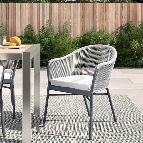 Dan Rope Patio Dining Chair with Cushion (Set of 2) by Foundstone