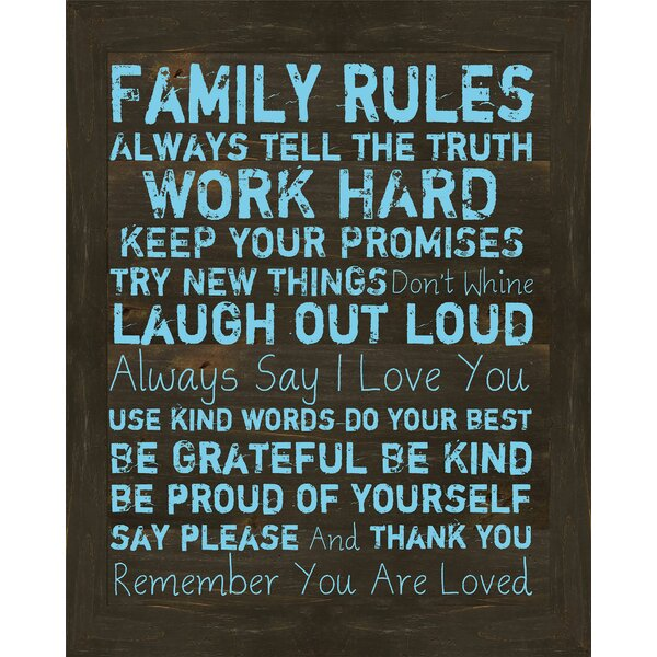 Family Rules I Framed Textual Art by PTM Images
