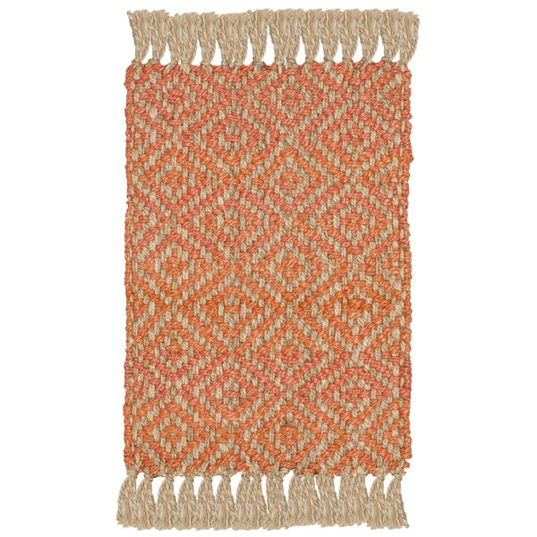 Collinsville Fiber Hand Woven Orange Area Rug  by Bungalow Rose