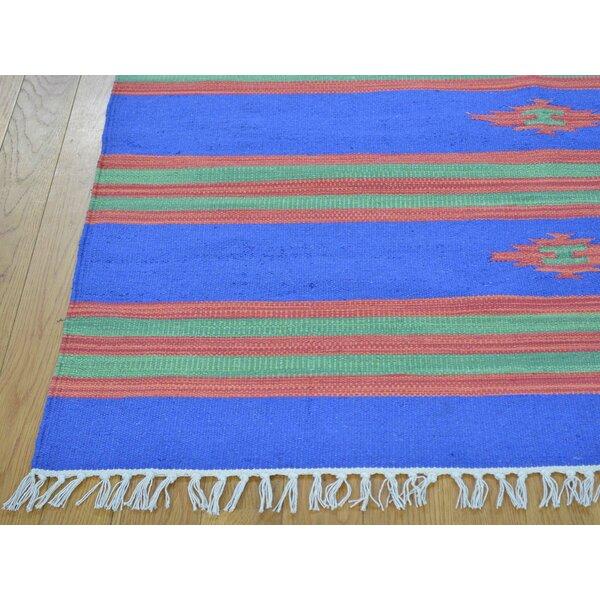 One-of-a-Kind Biggins Kilim Southwestern Design Handwoven Blue Wool Area Rug by Isabelline