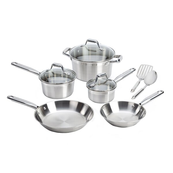 Elegance Brushed Stainless Steel 10 Piece Cookware Set by T-fal