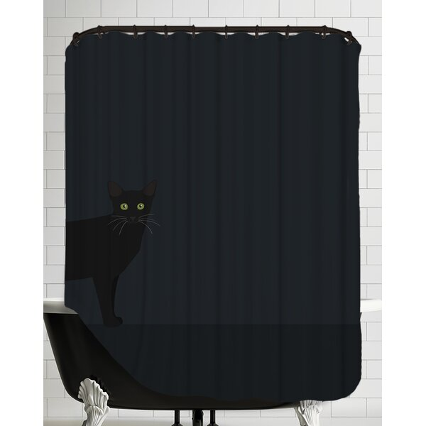 Blackcat Shower Curtain by East Urban Home