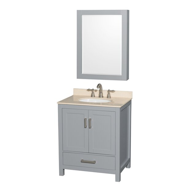 Sheffield 30 Single Gray Bathroom Vanity Set with Mirror by Wyndham Collection