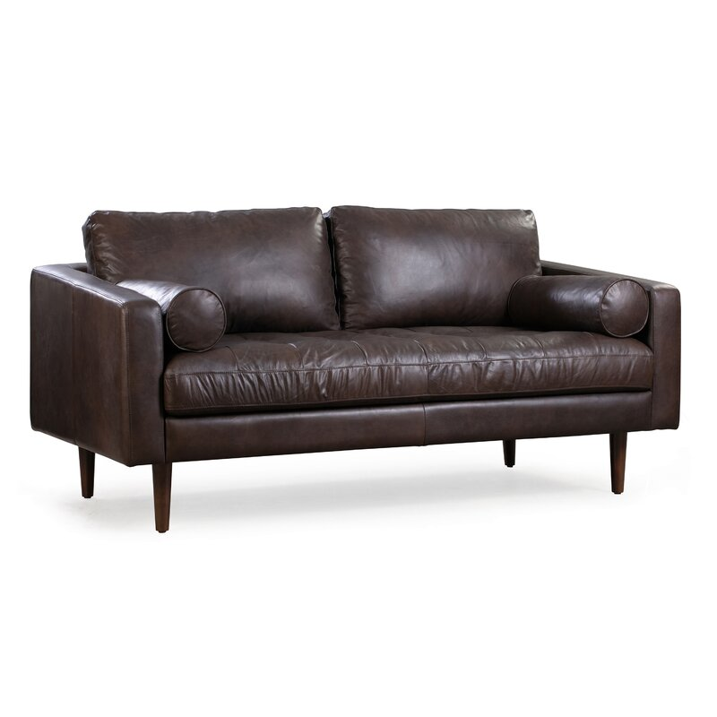 Kate 72 Genuine Leather Square Arm Sofa Reviews Joss Main