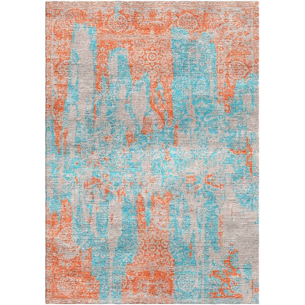 Aliza Handloom Blue/Rust Area Rug by Bungalow Rose