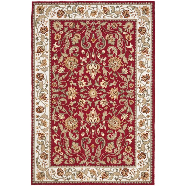 Harkins Hand-Hooked Red Indoor/Outdoor Area Rug