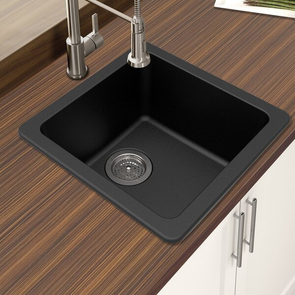 Granite Quartz 16.64 L x 16.64 W Single Bowl Drop-In Kitchen Sink by Winpro