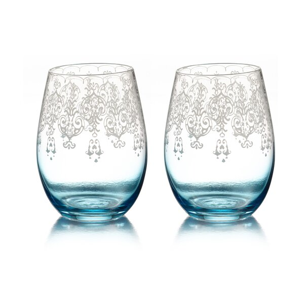 Mcguire Lace Stemless Glass (Set of 2) by Bungalow Rose
