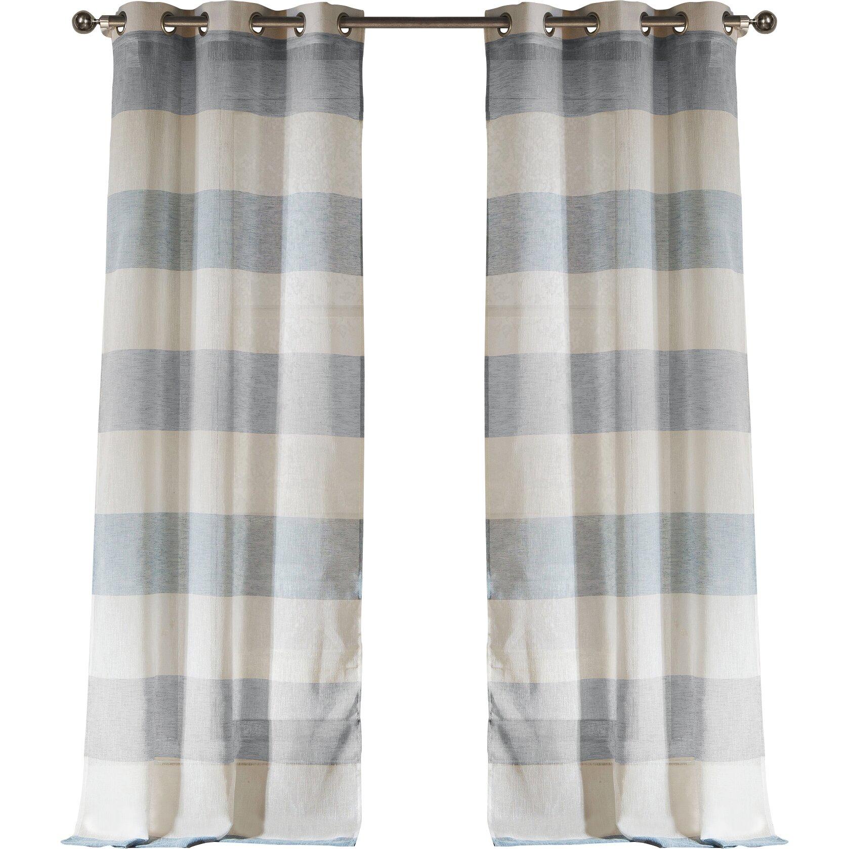 Brown plaid curtain panels - Hiltonia Striped Semi Sheer Grommet Curtain Panels
