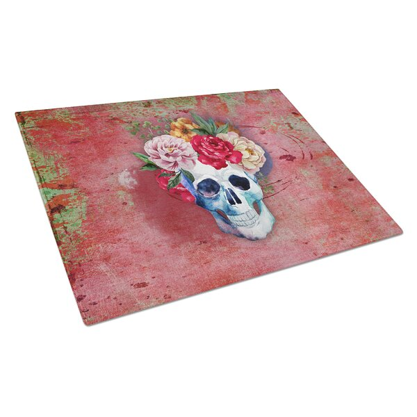 Glass Flowers Skull Cutting Board by East Urban Home