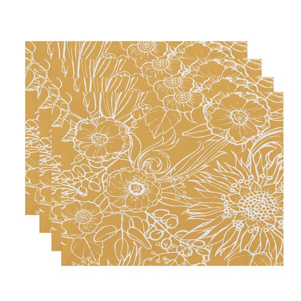 Willems Zentangle Floral Print Placemat (Set of 4) by Latitude Run