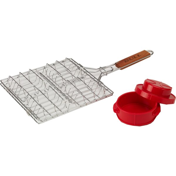2 Piece BBQ Basket and Press Set by Bull Outdoor P