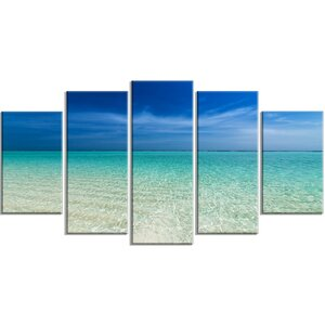 'Turquoise Ocean Under Blue Sky' 5 Piece Photographic Print on Wrapped Canvas Set by Design Art