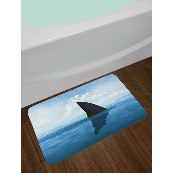 Shark Grey Violet and Pale Blue Shark Bath Rug by East Urban Home