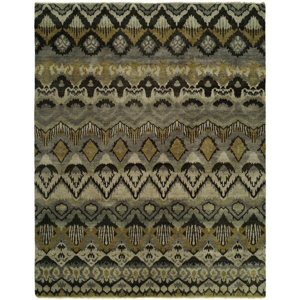 Giulia Hand Knotted Wool Gray/Khaki Area Rug by Bloomsbury Market