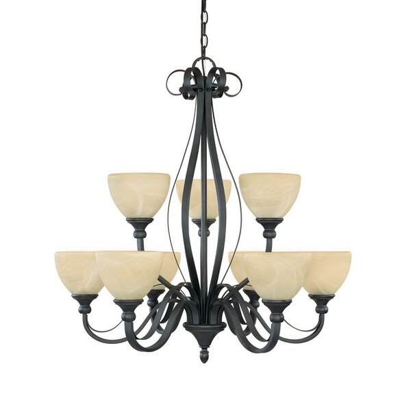 Murphree 9-Light Shaded Tiered Chandelier by Charlton Home Charlton Home