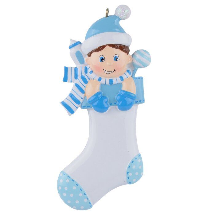Baby Boy Stocking Personalized Ornament