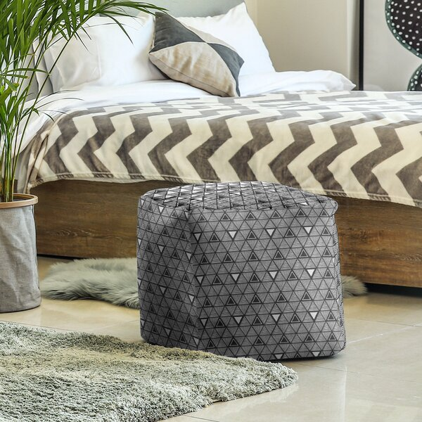 Full Color Hand Drawn Triangles Cube Ottoman by East Urban Home