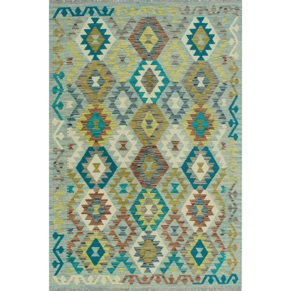 Corda Hand-Knotted Wool Teal Area Rug by Bungalow Rose
