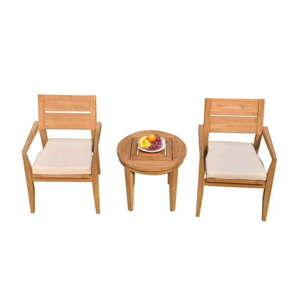 Mathes 3 Piece Teak Bistro Set by Rosecliff Heights