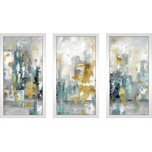 'City Views II' Framed Acrylic Painting Print Multi-Piece Image on Glass by Ivy Bronx