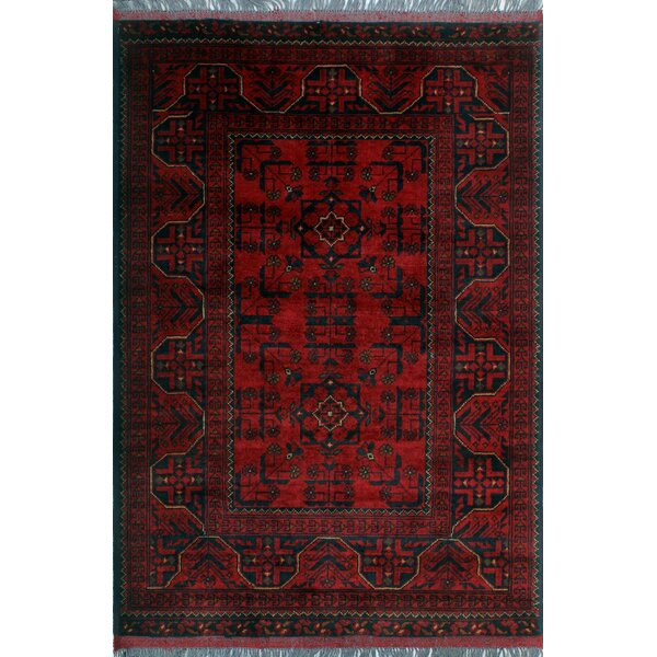 One-of-a-Kind Millar Jela Hand-Knotted Wool Red Are Rug by Bloomsbury Market