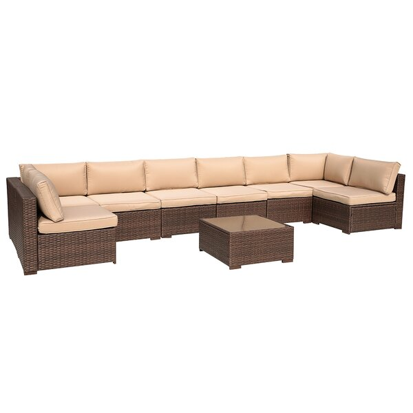 Alishka 9 Piece Rattan Sectional Seating Group with Cushions by Latitude Run