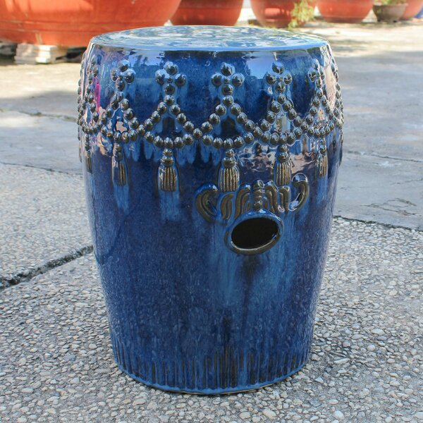 Alonsa Drum Ceramic Garden Stool by Trent Austin Design Trent Austin Design