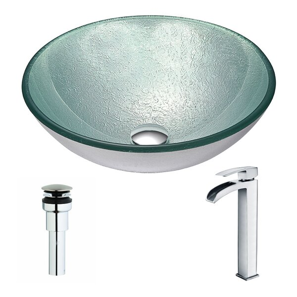 Spirito Glass Circular Vessel Bathroom Sink with Faucet by ANZZI
