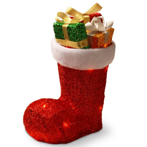 Santa Boot with Gifts and 10 Clear Lights by The Holiday Aisle