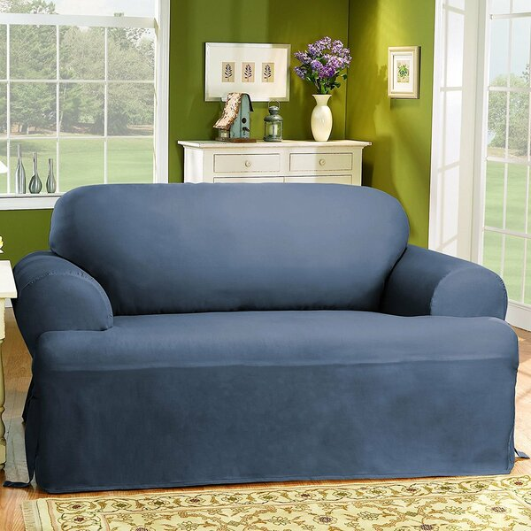 Cotton Duck T-Cushion Loveseat Slipcover By Sure Fit Modern