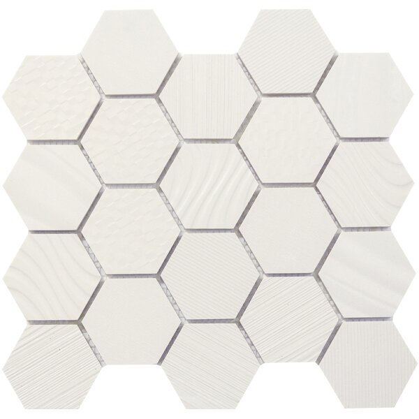 Surface Hex 3 x 3 Porcelain Mosaic Tile in White by Emser Tile