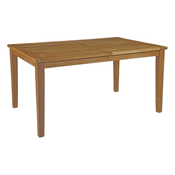 Elaina Outdoor Patio Teak Dining Table by Beachcrest Home