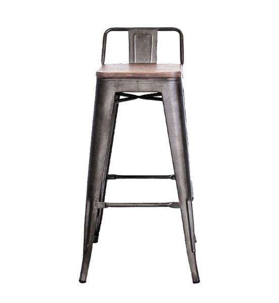 Long Low Back 30 Bar Stool with Wood Seat (Set of 4) by 17 Stories
