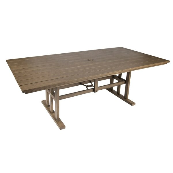 Augusta Woodlands Rectangular Umbrella Dining Table by Woodard