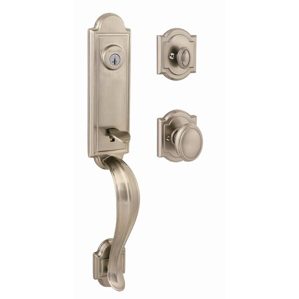 Avendale Single Cylinder Handleset with Arch Rose and Carnaby Interior Knob with Smartkey by Baldwin